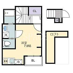 あんしん日置荘西町08-2012 2階1Kの間取り