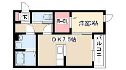 愛知県名古屋市昭和区明月町2丁目の賃貸アパートの間取り