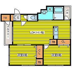 北海道札幌市東区北四十三条東12丁目の賃貸マンションの間取り