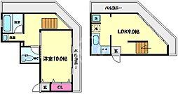 湊町ビル 9階1LDKの間取り