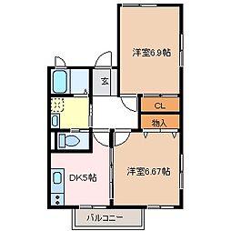 サニーコート柳ばし[2階]の間取り