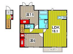 メゾン ド ソレイユ B[2階]の間取り