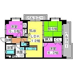 プレステージ和白V 3階3LDKの間取り
