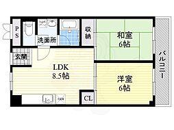 JR東海道・山陽本線 吹田駅 徒歩9分の賃貸マンション 3階2LDKの間取り