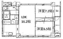 須磨マンション 5階2LDKの間取り