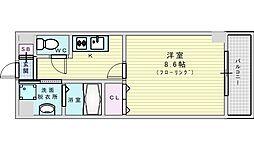 阪急千里線 山田駅 徒歩9分の賃貸マンション 4階1Kの間取り