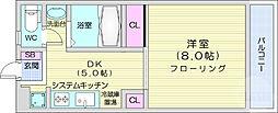 JR仙山線 東北福祉大前駅 徒歩20分の賃貸マンション 3階1DKの間取り