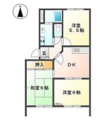 静岡県富士宮市西小泉町の賃貸アパートの間取り
