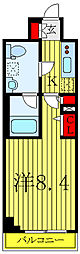 JR山手線 巣鴨駅 徒歩10分の賃貸マンション 2階1Kの間取り
