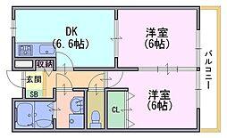 京都府京都市伏見区久我御旅町の賃貸アパートの間取り