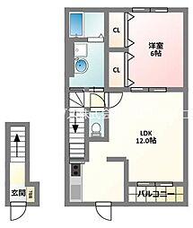 京阪本線 萱島駅 徒歩19分の賃貸アパート 2階1LDKの間取り