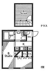 STUDIO D1(スタジオ ディーワン) B 2階1Kの間取り