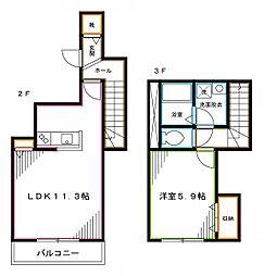 JR中央本線 中野駅 徒歩10分の賃貸アパート 2階1LDKの間取り