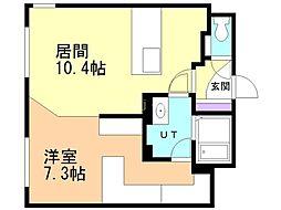 札幌市営南北線 北24条駅 徒歩5分の賃貸マンション 3階1LDKの間取り