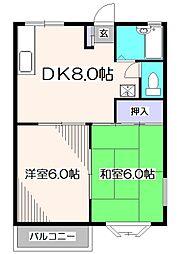 東京都東久留米市金山町2丁目の賃貸アパートの間取り
