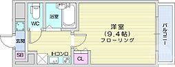 フォレスト・ヒル仙台青葉 8階1Kの間取り