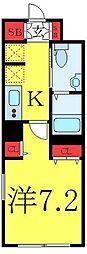 東武東上線 大山駅 徒歩6分の賃貸マンション 1階1Kの間取り