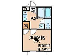 京都府城陽市長池北裏の賃貸アパートの間取り