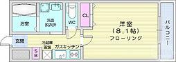 仙台市地下鉄東西線 川内駅 徒歩9分の賃貸マンション 4階1Kの間取り