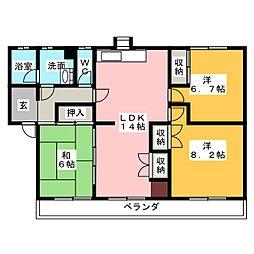 第2シャトーナツヤマ[1階]の間取り