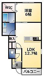 メゾンドソレイユ 1階1LDKの間取り