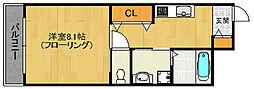 福岡市地下鉄空港線 室見駅 徒歩5分の賃貸マンション 2階1Kの間取り