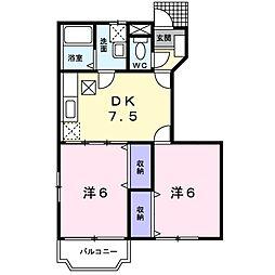 千葉県我孫子市天王台5丁目の賃貸アパートの間取り