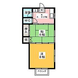 ヒキチハイツ[2階]の間取り