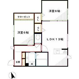 JR中央本線 武蔵小金井駅 徒歩18分の賃貸アパート 1階2LDKの間取り
