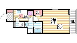 大阪府四條畷市岡山2丁目の賃貸アパートの間取り