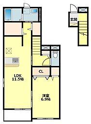 名鉄西尾線 西尾口駅 徒歩13分の賃貸アパート 2階1LDKの間取り