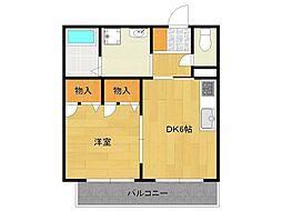 兵庫県宝塚市中筋山手1丁目の賃貸アパートの間取り