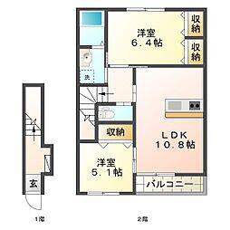 グランディールサクラ2号館[2階]の間取り