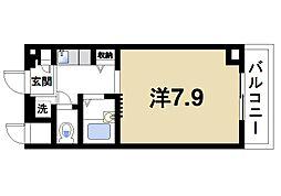 近鉄奈良線 菖蒲池駅 徒歩6分の賃貸マンション 3階1Kの間取り