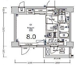 XEBEC大鳥居II 2階1Kの間取り