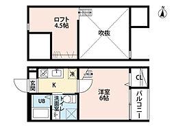 名鉄常滑線 柴田駅 徒歩11分の賃貸アパート 2階1SKの間取り