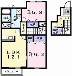 カーサフィオーレ中島B[2階]の間取り