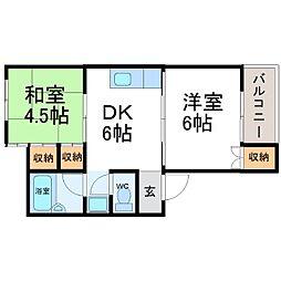 兵庫県尼崎市神崎町の賃貸アパートの間取り