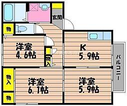 岡山県倉敷市西富井丁目なしの賃貸アパートの間取り