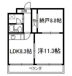 京都府京都市伏見区両替町12丁目の賃貸マンションの間取り