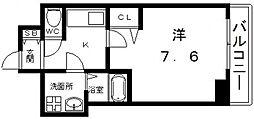 ララプレイス四天王寺前夕陽ヶ丘プルミエ 5階1Kの間取り