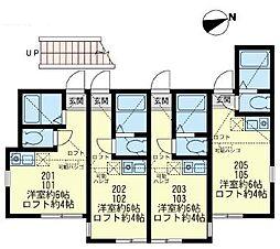 神奈川県横須賀市東逸見町1丁目の賃貸アパートの間取り