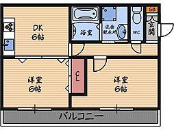 フラミニアコート1[2階]の間取り
