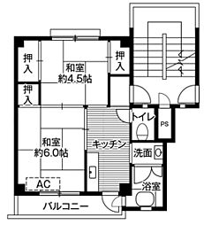 ビレッジハウス招提2号棟1階Fの間取り画像
