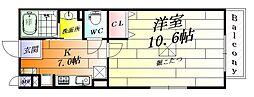 大阪府摂津市千里丘東4丁目の賃貸アパートの間取り
