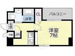 Osaka Metro今里筋線 蒲生四丁目駅 徒歩4分の賃貸マンション 2階1Kの間取り