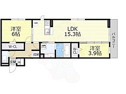 Osaka Metro御堂筋線 なかもず駅 徒歩19分の賃貸アパート 3階2LDKの間取り
