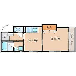 JR東海道本線 草薙駅 徒歩14分の賃貸マンション 3階1DKの間取り