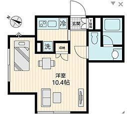 東急世田谷線 上町駅 徒歩1分の賃貸マンション 2階1Kの間取り