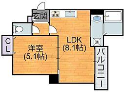 Osaka Metro谷町線 喜連瓜破駅 徒歩12分の賃貸アパート 3階1LDKの間取り